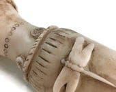 Dragonfly vase rustic clay