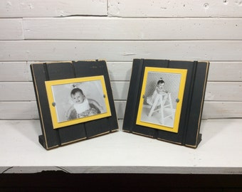 """Black and yellow table top picture frame holds one 4""""x 6"""" photo.  Pittsburgh Steelers, Penguins and Pirates, Boston Bruins colors"""