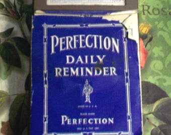 1942 Perfection Daily Reminder Desk Calender Vintage