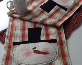 """PLAID SNOWMAN TABLERUNNER,  Red And Green Plaid Homespun, 12 1/2"""" x 46 1/2"""",  Raw-Edge Appliqued Snowman, Christmas Tablerunner, Home Decor"""
