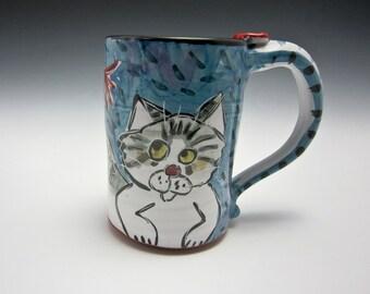 Large Ceramic Coffee Mug - Tabby Cat Grey Gray and White - 18 ounces - Pottery Cup Clay Mug - Majolica Mug - Blue - Coffee Cup - Pet Image
