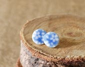 Blue Flower Porcelain Studs, Ceramic Earrings by Mrs Peterson Pottery