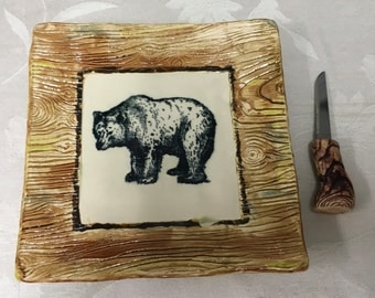 Square Bear Cheeses Plate