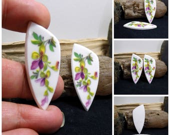Pair Matched Floral China Free Form Hand Cut Cabochons 47 mm
