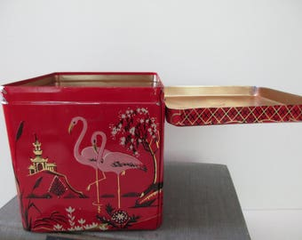 vintage pink flamingo DECORATIVE TIN - Made in Holland, Asian, red, black, gold, hinged