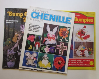 3 vintage books - CHENILLE Projects, Chenille Bumpies, Bump Chenille Magic, Chenille Circus
