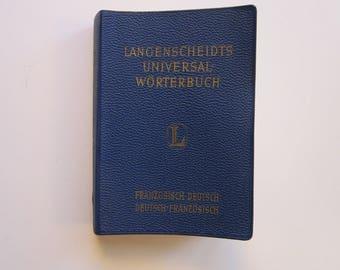 vintage book - Langenscheidt's German to French and Franzosisch to Deutsch Dictionary - 1965 - travel size, pocket size