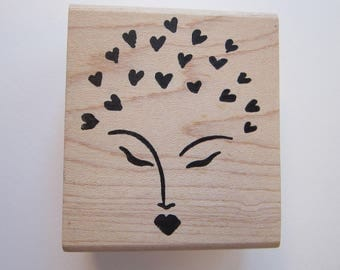 rubber stamp - face with hearts - Ducks in a Row - circa 1998