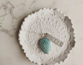 Turquoise locket with personalized silver bar on sterling silver chain, modern personalized jewelry