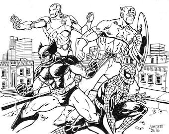 Marvel Comics Heroes Ink Illustration - Wolverine, Captain America, Iron Man, Spiderman