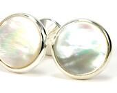 Mother of Pearl Cufflinks - Wedding Cufflinks - Silver Cufflinks - Unique Gift Idea for Groom, Groomsmen, Father of the Bride & Groom