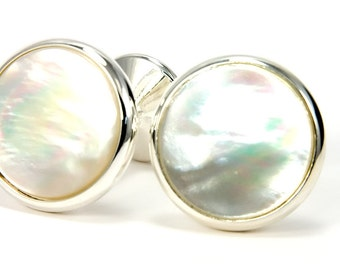 Wedding Cufflinks | Silver Cufflinks | Mother of Pearl Cufflinks | Unique Gift Idea for Groom, Groomsmen, Father of the Bride & Groom