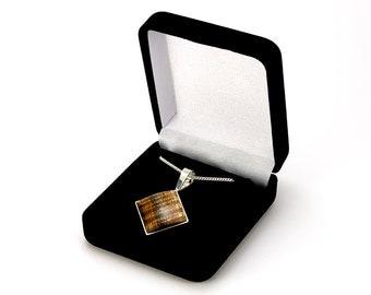 Figured Hawaiian Koa Sterling Silver Necklace Pendant | Koa Sterling Silver Wood Necklace | Hawaiian Koa Jewelry | Gift for Mom, Bride