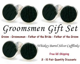 Wedding Cufflinks - Whiskey Barrel Wooden Cufflink Sets - Tennessee Whiskey Wood & Silver Cufflinks - Groomsmen Gift Wedding Party Gift Sets
