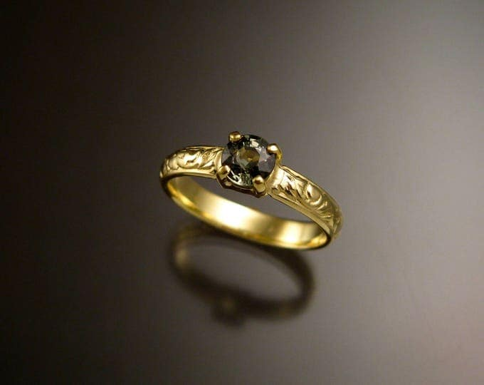 Green Sapphire 14k Green Gold Victorian floral pattern wedding ring green Diamond substitute engagement ring