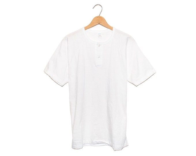 Vintage Sportswear Blank White 2 Button Henley Poly-Cotton Blend New Old Stock T-Shirt Made in USA - Large (OS-TS-17)