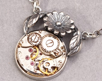 Sterling Silver Flower Necklace Steampunk Necklace Steampunk Silver Flower Necklace