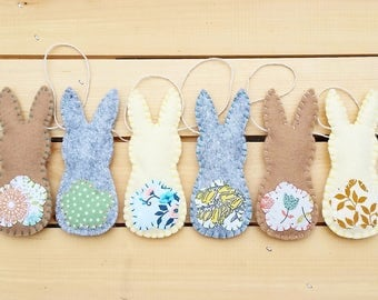 Felt Bunny Garland  - Bunting, Easter, Holiday, Home Decor, Decoration, Wall Hanging, Felt Bunny, Nursery decor
