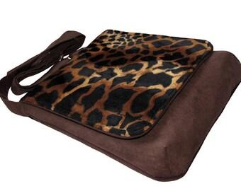 Giraffe Bag, Brown Crossbody Bag, Authors Bag with Flap, OOAK Messenger Bag, Eco Suede Vegan Bag, Flap Cover Bag, Adjustable Strap