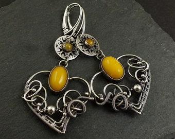 Yellow amber earring, silver wire wrapped earring, heart earring, wirework jewelry