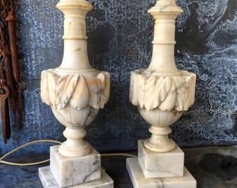 Alabaster Lamps / Hand Carved Italian Alabaster / Pair / Cottage Lighting / Elegant Lighting