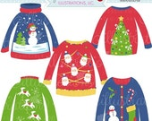 ON SALE Ugly Christmas Sweaters Cute Digital Clipart - Commercial Use OK - Christmas Sweater Graphics - Christmas Clipart