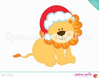 Instant Download Christmas Lion Clip Art, Cute Digital Clipart, Christmas Clip art, Cute Christmas Lion Illustration, #536