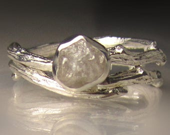 Raw Diamond  Ring, Raw Diamond Engagement Ring, Rough Diamond Engagement Set
