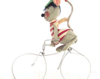 Annalee Mobilite Mouse on Bicycle, Vintage Stuffed Doll on Metal Wire Bike (F2)