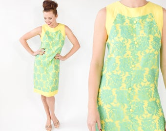 60s Lace Dress | Yellow Turquoise Sleeveless Shift Dress | Tea Party Dress | Small