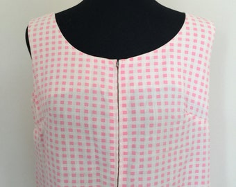 vintage 60s pink gingham dress mini dress house dress plus size go go scooter 1960s 70s
