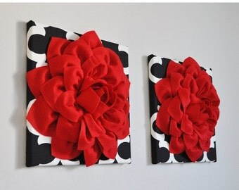 "SALE Red Flower Wall Decor Wall Hangings -Bright Red Dahlias on Black and White Moroccan 12 x12"" Canvas Wall Art Unique Wall Art Always Tren"