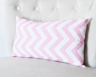 Chevron Pillows Pink Decorative Throw Pillow Covers Lumbar, Kidney Pillows - Zipper Chevron Pillow Cover Pink and White Chevron Rectangle
