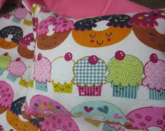 18 inch Doll Bedding, pink donut doll blanket and pillow for 18 inch dolls