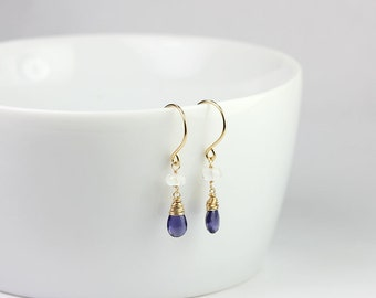 Iolite Rainbow Moonstone Gemstone Gold Wrapped Earrings Bridal Jewelry