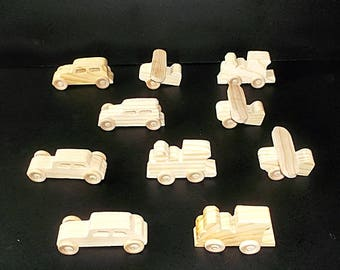 10 Handcrafted Wood Toy Planes, Train, Cars   OT- 7 unfinished or finished
