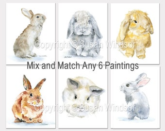 Watercolor Animal Art Prints - Set of 6 - Mix and Match Paintings - Nursery Childrens Room
