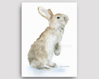Bunny Rabbit Watercolor 12 x 16 Gallery Wrapped Canvas Print - Woodland Animal - Nursery Art