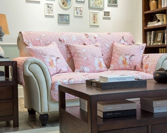 Pink Flower Sofa Cover Spring Floral Couch Slipcover Loveseat Quilted Cover Cotton Pink White Home Decor