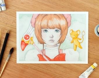 Cardcaptor Sakura. 5x7 Fine Art Archival Print. Otaku Anime Watercolor Illustration