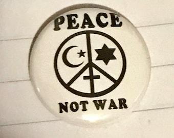 Anti war peace religious freedom pin