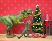 T. rex dinosaur diorama print, Christmas scene - The Holly and the T. Rex