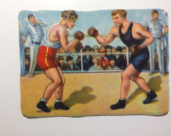 Magnet with upcycled scrap illustrations, Boxing!