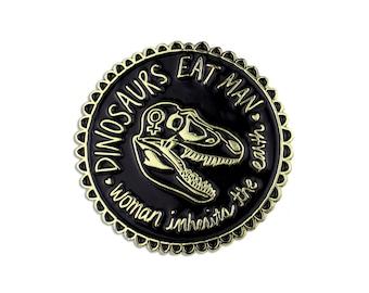 Jurassic Park dinosaurs eat man woman inherits earth enamel lapel pin