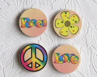 """Peace and Love Wood Magnet Set, Decoupage Print, Set of 4, 1.5"""" in Size  W014"""