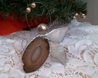 agate geode ANGEL stained glass suncatcher or ornament