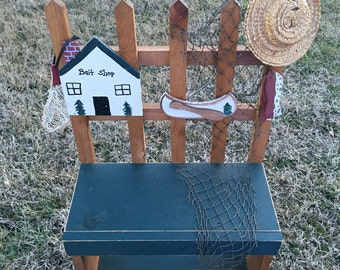 Gone Fishin' Bench Coastal Decor