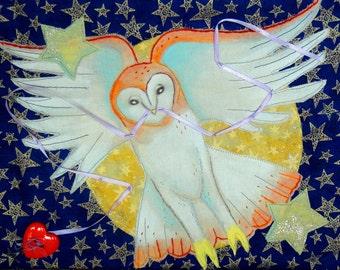 Night Messenger OOAK QUILTED OWL Handmade Enchanted Forest Bird Folk Fairy Tale Art