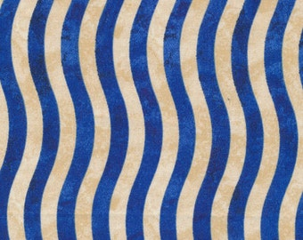 Valor from Fabri-Quilt - Full or Half Yard Blue and Natural Wavy Stripe - Patriotic, July 4th