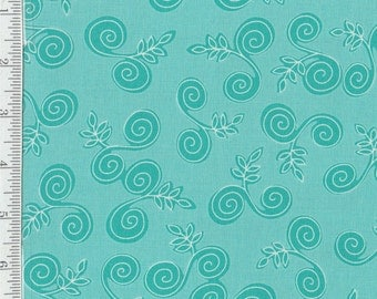Fab Friend'zy from Henry Glass - Full or Half Yard Swirls and Leaves on Aqua